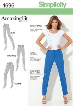 Simplicity 1696 from Simplicity patterns is a Misses' & Miss Petite Amazing Fit Pants sewing pattern Sewing Pants, Sewing Clothes, Slim Pants, Straight Leg Pants, Women's Pants, Capri Pants, Clothing Patterns, Dress Patterns, Trousers Women
