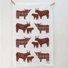 Tartan Highland Cow Tea Towel