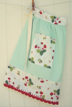 ::SALE:: :: a pretty vintagey mint half apron with a vintage strawberry fabric waist, pocket, and bottom border with vintage lace, pink polka dot cream ties and adorned pretty red crocheted scallops!   ::Handmade with lots of love by me and ready to make you feel most lovely while in the kitchen o
