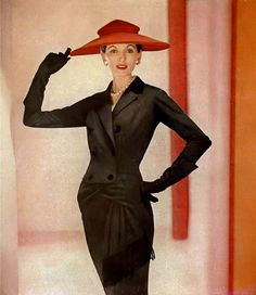 1955 Joan Romano in Orlon wool-jersey design by Pierre Balmain.