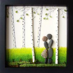 tableau galets décoratifs à faire soi-même représentant un paysage forestier romantique
