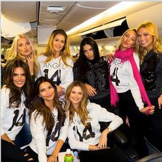 Victorias secret angels on board private jet to london for 2014 fashion show !