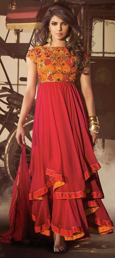 414033, Bollywood Salwar Kameez, Faux Georgette, Patch, Resham, Floral, Red and Maroon Color Family