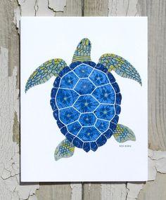 Note Card / Whimsical Sea Turtle / Sea by CoastalColorsCapeCod, $3.50