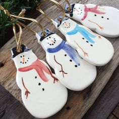 Snowman Ornament, Frosty Snowman Ornament, Handmade pottery snowman ornament, Ceramic snowman ornament, teacher gift, 2015 ornament by BeachwoodStreet on Etsy https://www.etsy.com/listing/163174436/snowman-ornament-frosty-snowman-ornament