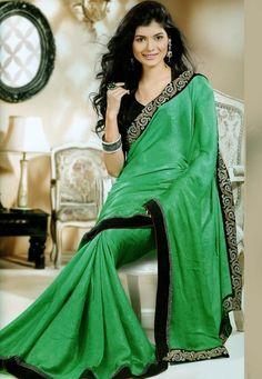 #Green Jacquard #Chiffon #Saree with Blouse @ $138.26