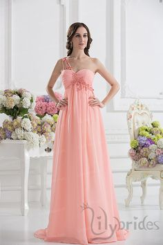 A-line One-shoulder Satin Chiffon Floor Length Prom Dress