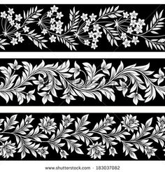 Find Set Seamless Floral Borders stock images in HD and millions of other royalty-free stock photos, illustrations and vectors in the Shutterstock collection. Thousands of new, high-quality pictures added every day. Floral Pattern Vector, Motif Floral, Floral Border, Border Embroidery Designs, Embroidery Motifs, Motifs Art Nouveau, Molduras Vintage, Zentangle, Paar Tattoos