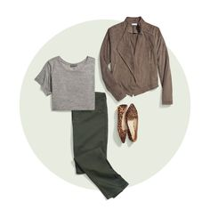 How to Wear Colored Denim Olive pants / Gray shirt / Taupe jacket / Animal print shoes Stitch Fix Fall, Stitch Fit, Look Fashion, Autumn Fashion, Fall Outfits, Casual Outfits, Casual Wear, Olive Jeans, Stitch Fix Outfits