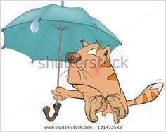 Cat and an umbrella Cartoon - Shutterstock