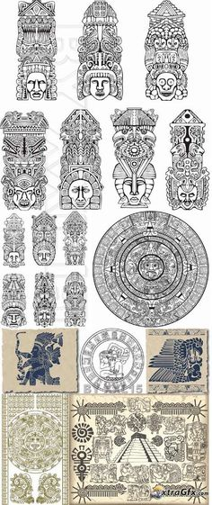 Ever play New Fire RPG? Symbols of aztec and maya Gott Tattoos, Bild Tattoos, Body Art Tattoos, Ancient Symbols, Ancient Art, Inka Tattoo, Arte Latina, Mayan Tattoos, Aztec Symbols