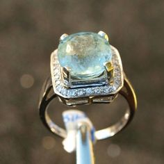 Aquamarine and White Sapphire Ring - Size 6.5