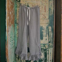 These linen draw string pants are a cross between bloomers and pants, they are loose, but not over baggy, I can make them from a small to an extra