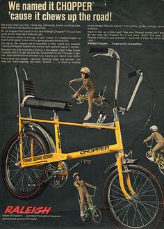 usa raleigh chopper mag add with a wierd posing model. Bmx, Old Bicycle, Old Bikes, Retro Bicycle, Vintage Cycles, Vintage Bikes, Vintage Advertisements, Vintage Ads, Retro Advertising