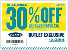 For my friends in Forney/Terrell ... 30% off at Old Navy Outlet locations through Sunday coupon via The Coupons App