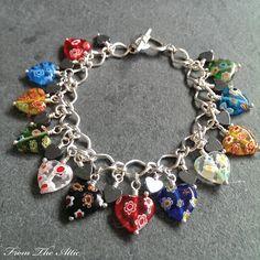 Millefiori Hearts charm bracelet #millefiori #fromtheattic #multicolour #bracelet #charmbracelet #jewellery #jewelry #fashion #accessories #beads #handmade #madeinuk #unique #giftsforher #jewellery #jewelry