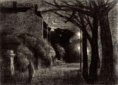 Rick Amor (Australian, b. The Street at Night, Charcoal, 54 x cm. Australian Painting, Australian Artists, Artist Painting, Painting & Drawing, Beautiful Drawings, Contemporary Artists, Great Artists, Light In The Dark, Printmaking