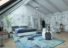 luxurious attic bedroom with vaulted ceiling, modern furniture, blue rug, unfinished wall