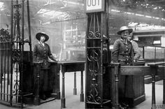 Female ticket collectors employed by the Lancashire and Yorkshire Railway in position on the gate at Victoria Station in Manchester. By 1918, the Lancashire and Yorkshire Railway was employing 4,459 women throughout its network of stations.