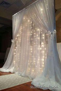 Beautiful Wedding Backdrop   String Lights   Organza Curtains   Indoor Wedding Inspiration   Romantic Wedding