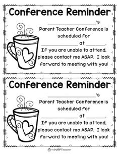 This *FREEBIE* has one sheet with 2 conference reminder slips on ...