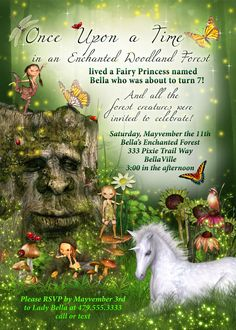 Fairy Forest Unicorn Birthday Party Invitation, Woodland Fairy Birthday Invitations, Fairy Unicorn Party, Unicorn Fairy Invitations by BellaLuElla on Etsy https://www.etsy.com/listing/200947914/fairy-forest-unicorn-birthday-party