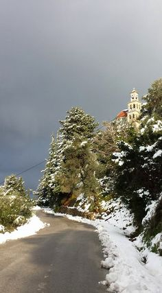 Snow in Chania!  Happy New Year from Crete