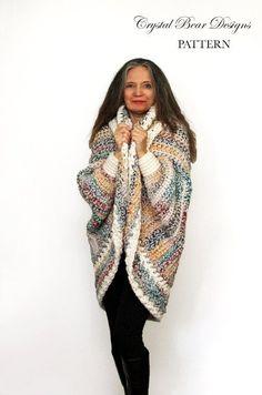 Crochet Shrug PATTERN / Oversized Cardigan Sweater / Chunky
