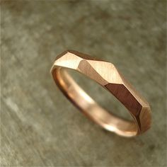 14k rose gold  Chiseled Ring  3mm wide by daniellejewelry on Etsy, $280.00