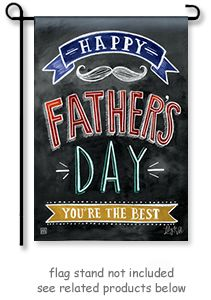 "Happy Father's Day Garden Flag by artist Lily and Val for Breeze Art. Chalkboard, chalk.  Size is 12.5"" Wide x 18"" Long.  **Free shipping to anywhere in the USA **"