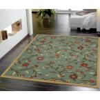 Ottohome Collection Floral Design Sage Green 2 ft. 7 in. x 4 ft. 1 in. Area Rug