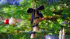 1920x1080 Wallpaper tree, new year, christmas, toys, ornaments, bells, ribbon, close-up