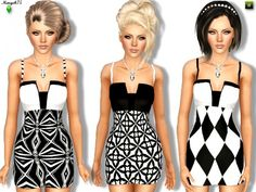 B&W Diva Outfit by Margeh75 - Sims 3 Downloads CC Caboodle