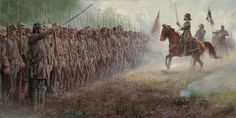 """Pickett's Charge by Mort Kunstler. Mort Kunstler has captured the moment in history as George Pickett tries to inspire his troops before the famous """"Picketts Charge"""". 14 1/2 x 29 image size $200.00 www.blog.delawarerivergallery.com"""