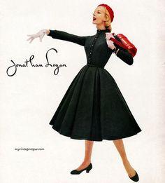 Jonathan Logan - 1955.  #1955 #Mode #Fashion #Vintage #Années50 #Années1950 #Fifties #1950s #50s #50 #1950's #Anos50 #Décadade50 #Décadade1950 #Década50 #GoldenYears #AnnéesDorées #AnosDourados #AñosDorados