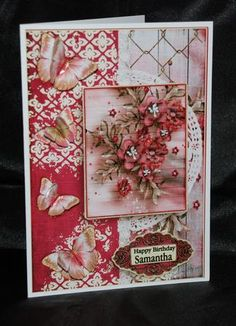 Cardtopper with matching envelope red flower 636 on Craftsuprint designed by Gertraud Lueckel - made by Carole Keeble - I printed the main sheet onto photo paper. Placed the main piece onto card stock and then used sticky tabs to add the decoupage pieces. Glitter glue and the supplied blank sentiment to add my personalisation on all makes up a perfect card :-) - Now available for download!