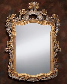 mirror - antique mirror - 17th century Venetian style mirror with leaf and floral design in antiqued gold and silver leaf finish