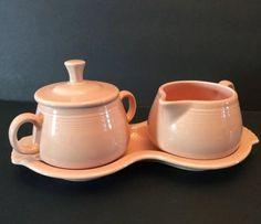 Fiestaware Apricot Sugar Creamer Tray Set Fiesta Coffee Tea 4 Piece Lot Retired  | eBay