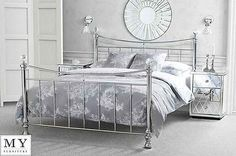 4ft6 double metal bed chrome #plated with #crystal #finials - waterford, View more on the LINK: http://www.zeppy.io/product/gb/2/121853834073/