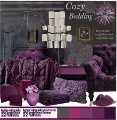 """Cozy Bedding in berries tones"" by linea-prima on Polyvore"