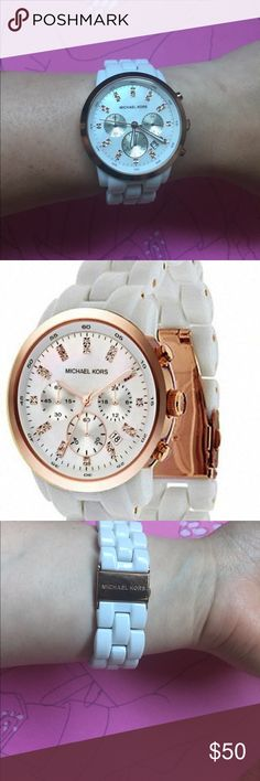 MK White Acrylic Rose Gold Crystal Chrono Watch MK Michael Kors Womens White Acrylic Rose Gold Crystal MOP Chrono Watch MK5487!  This has been very loved with scratches on the back and some tarnish. Face of watch is in great condition!  Featuring Swarovski crystals and mother of pear face. It's in good condition other then tarnish and some scratches. Accessories Watches