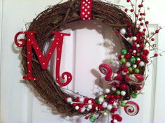 Christmas Grapevine Wreath with Candy Red, Green and  White Accents. $50.00, via Etsy.