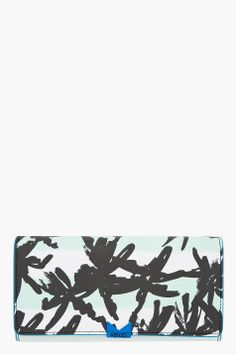 KENZO Green Palm Print Envelope Wallet