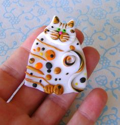 Polymer Clay Calico Cat pin brooch or magnet by Coloraudia on Etsy, $12.00