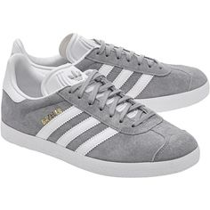 ADIDAS ORIGINALS Gazelle Mid Grey // Flat suede sneakers (140 CAD) ❤ liked on Polyvore featuring shoes, sneakers, gray sneakers, stripe shoes, grey suede sneakers, gray shoes and suede shoes