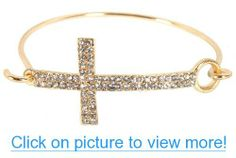 Gold with Clear Iced Out Cross Metal Bangle Bracelet #Gold #Clear #Iced #Cross #Metal #Bangle #Bracelet