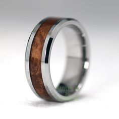8mm Men's Tungsten Wedding Band Mahogany Wood by SIMPLEnUNIQUE
