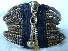Zipper Bracelet by KariMcMurphy on Etsy. Love the idea of using zipper for bracelet closure! Gotta make me one :)