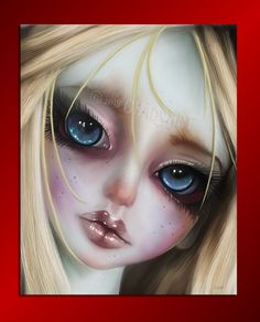 """Print of BJD Oil Painting titled """"La Petite Cozette"""" 8"""" x 10"""" or 11"""" x 14"""", Big Eye Art, Doll Art, Asian Ball Jointed Doll Art, Fantasy Art by Chadsart on Etsy"""