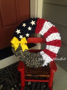 Military Patriotic Wreath Army Navy Marines by TheJuniperStudio Patriotic Crafts, Patriotic Wreath, July Crafts, Crafts To Do, 4th Of July Wreath, Arts And Crafts, Army Wreath, Military Wreath, Deployment Party